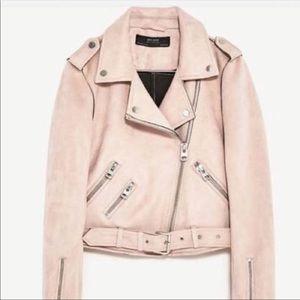 Zara faux suede moto jacket small